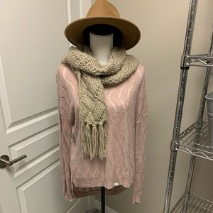 Crochet style mauve hi low sweater